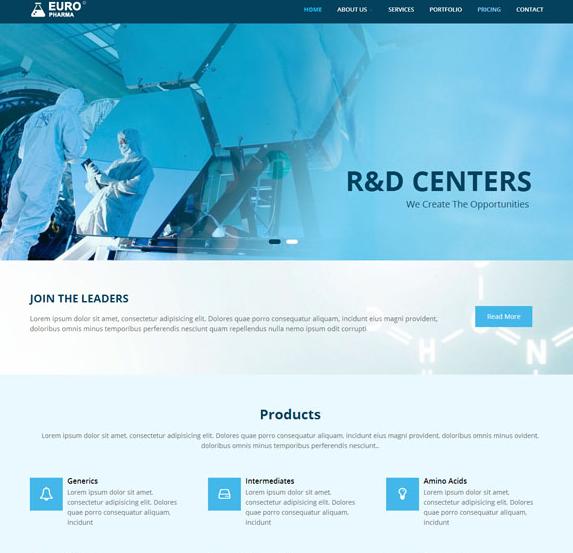 蓝色医学研究机构网站模板