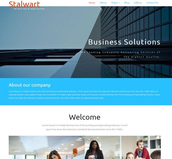 蓝色宽屏整洁企业网站模板