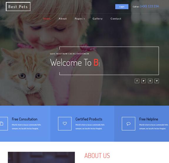 宠物领养交易平台网站模板