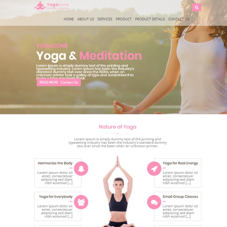 粉色响应式瑜伽前端模板