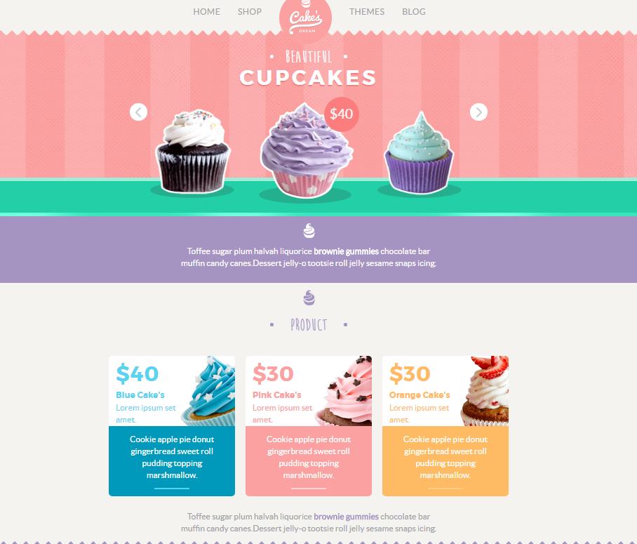 响应式甜品电商网站模板