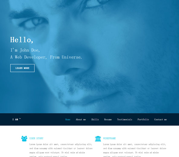 成熟成功男士蓝色前端网站模板