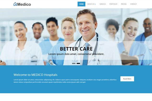 大气蓝色医疗团队网站模板