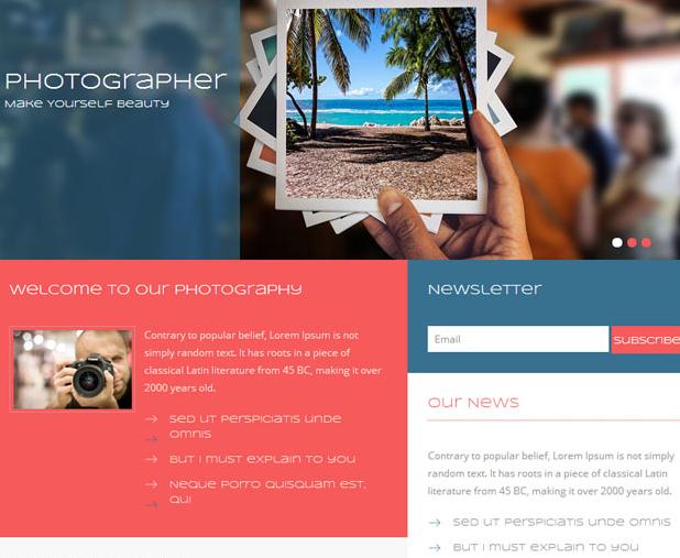 职业摄影师照片画廊网站模板