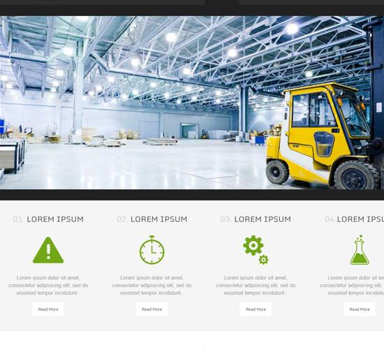 绿色清爽工程叉车建设网站模板
