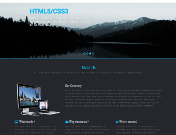 黑色风格建站公司HTML5前端模板