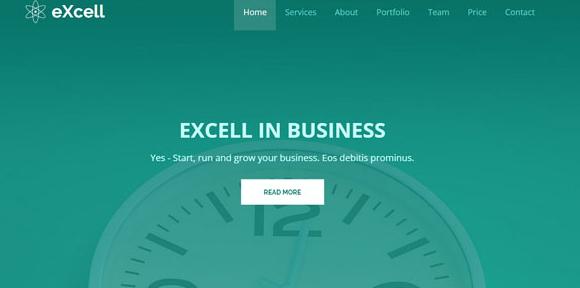 浅绿色时钟背景企业网站模板