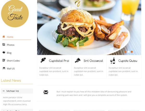白色简洁美食博客网站模板下载