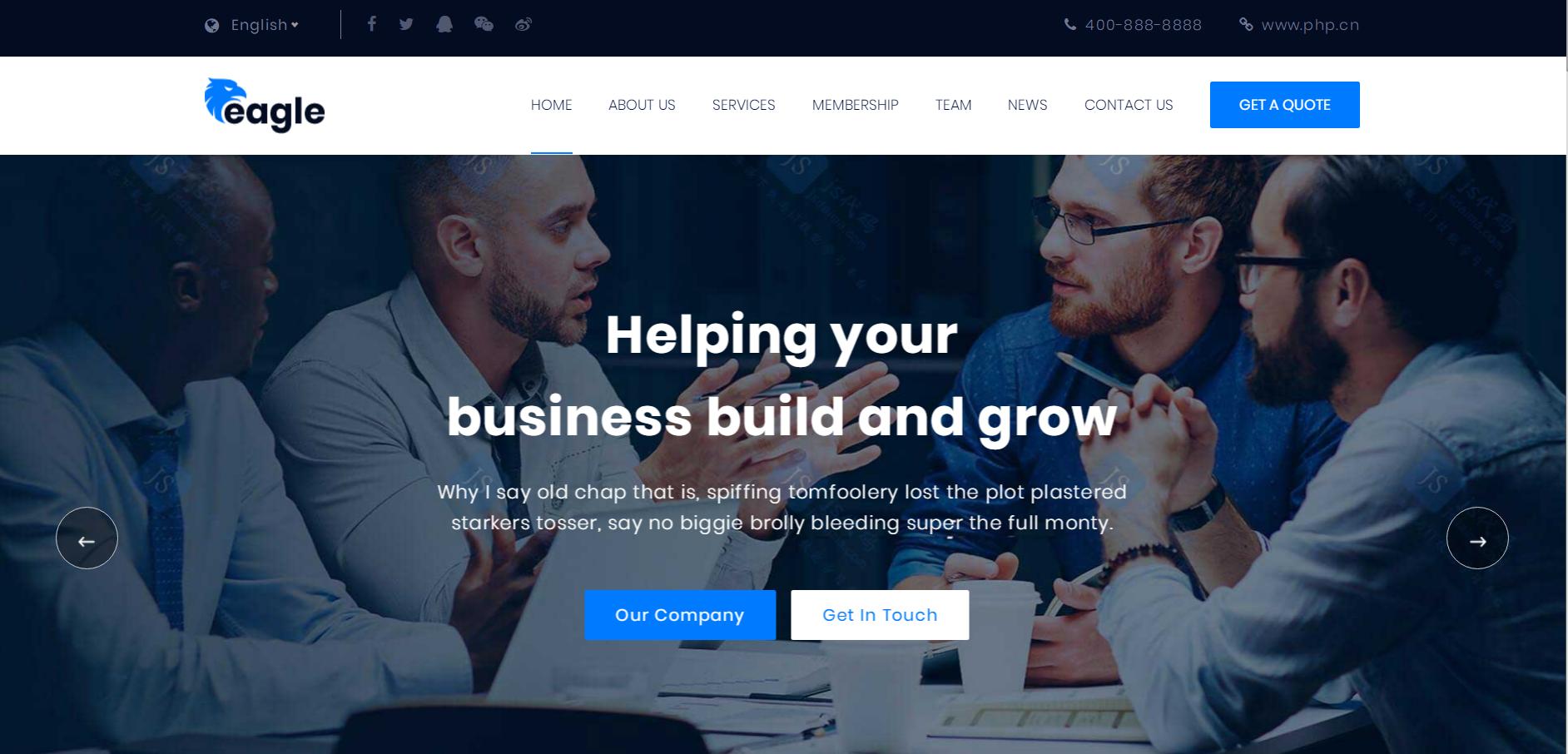 蓝色商务信息咨询解决方案提供创意设计公司HTML5响应式网站模板