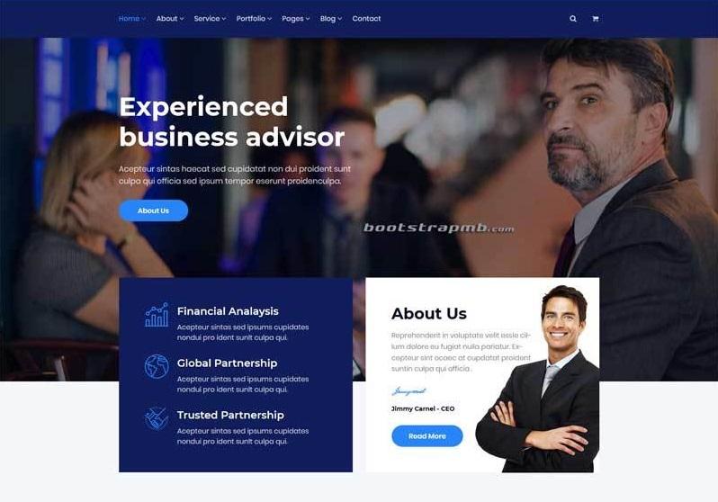 藍色的商業服務企業網站UI模板