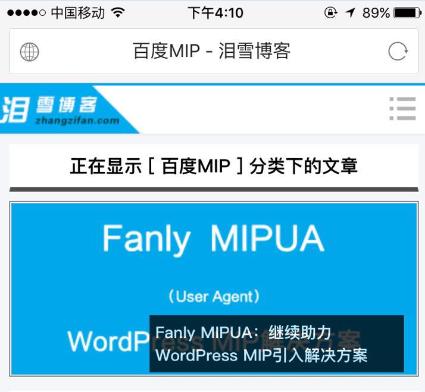 WordPress MIP:Fanly MIP模板,支持独立域名绑定