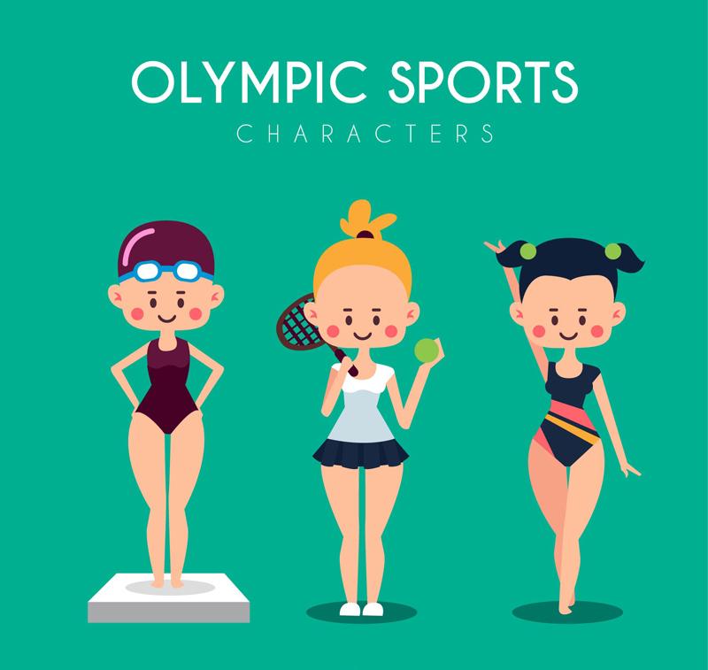 3名卡通女运动员设计矢量素材