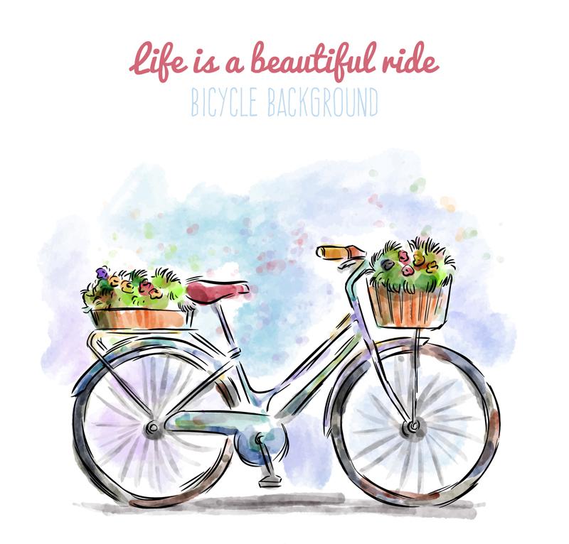 水彩绘装满鲜花的单车矢量图