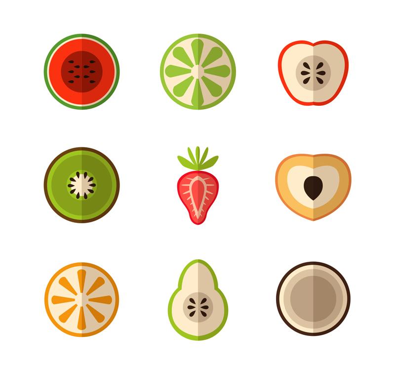 9款彩色水果切面矢量素材