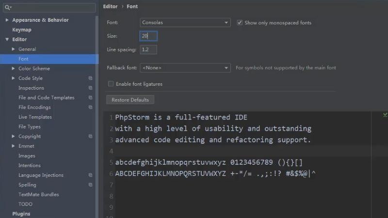 怎么设置Phpstorm字体大小及样式