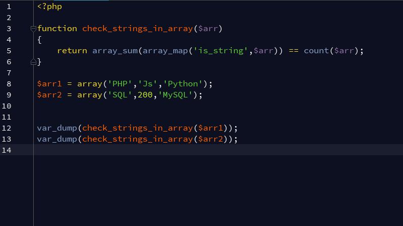 PHP检查数组所有的值是否为字符串