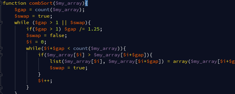 PHP梳排序(Comb Sort)算法的实现