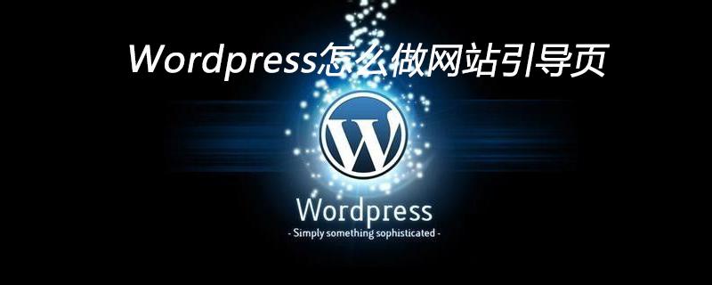 Wordpress怎么做网站引导页_wordpress教程