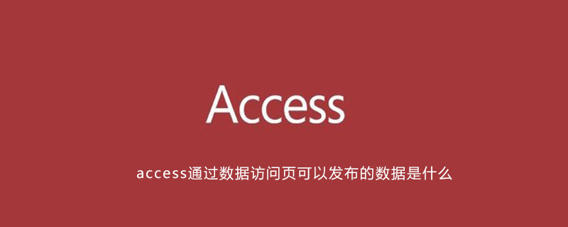 access通过数据访问页可以发布的数据是什么