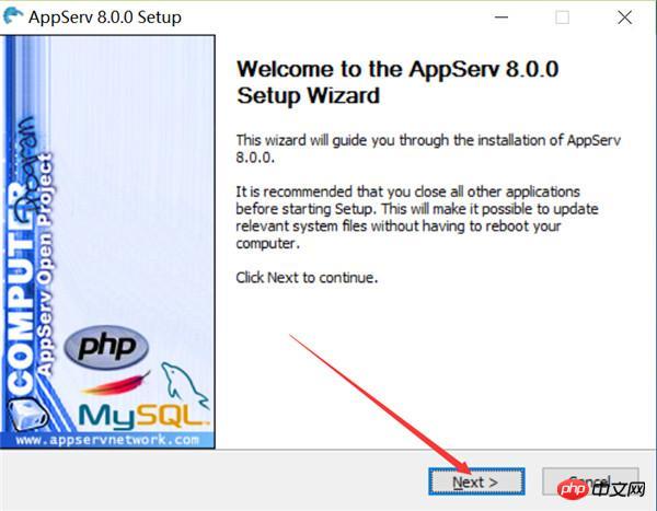 双击AppServ文件