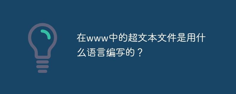 www中的超文本文件是用什么语言编写的