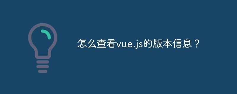 怎么查看vue.js的版本信息?
