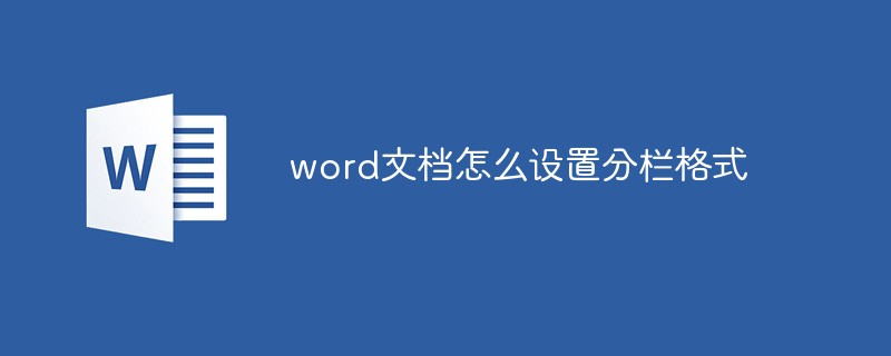 word文档怎么设置分栏格式