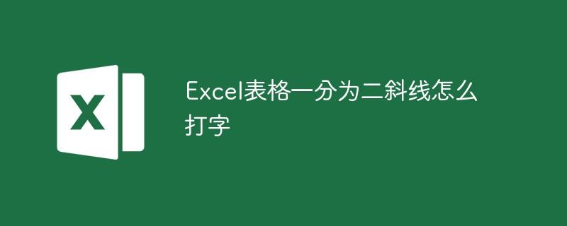 Excel表格一分为二斜线怎么打字