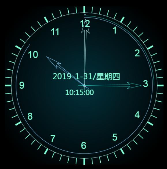 简单实用原生js实现带表盘指针动态实时数字时钟特效代码