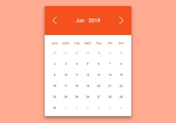 CSS3可切换背景颜色的日历控件