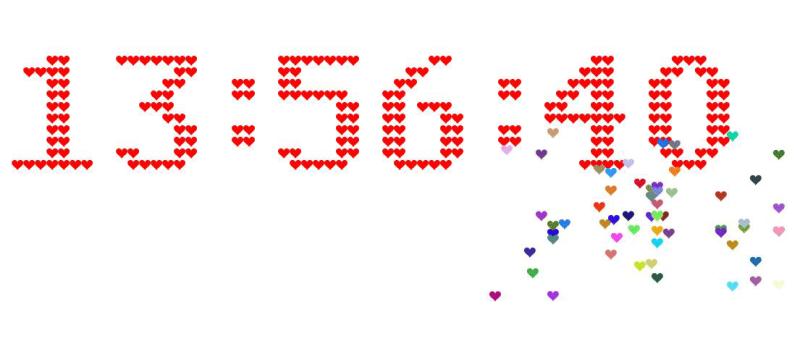 html5爱心组成数字时钟代码