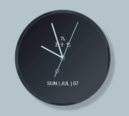 js css3带月份的圆形时钟