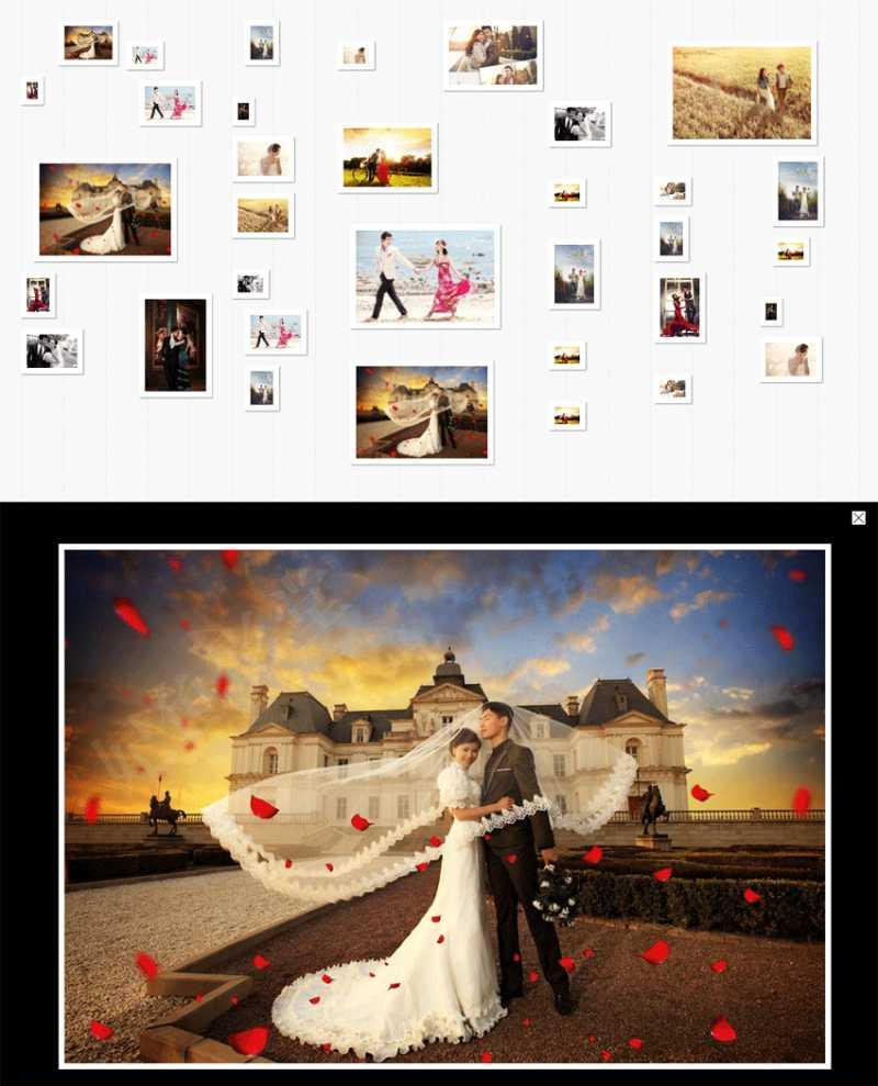 jquery瀑布流图片墙点击相册图片展示大图信息