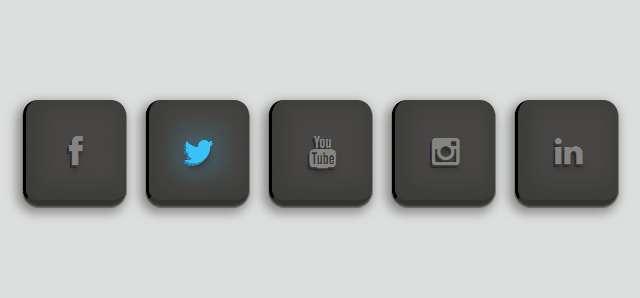 纯css3黑色发光分享按钮特效