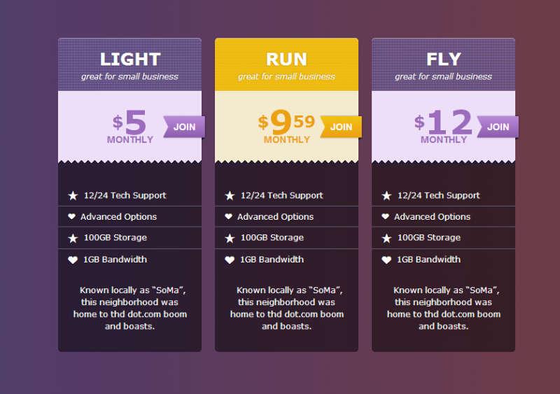 css3渐变色制作漂亮的css3价格列表布局样式代码