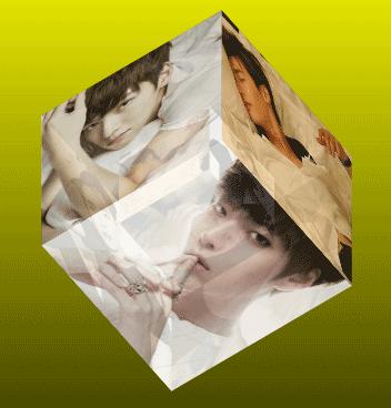純css3 3D圖片立方體旋轉動畫特效