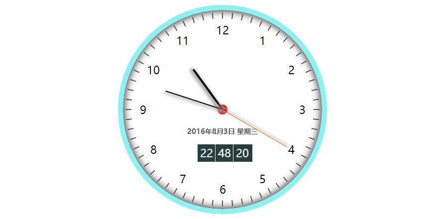 简单清新带日期的圆形数字电子时钟js特效代码