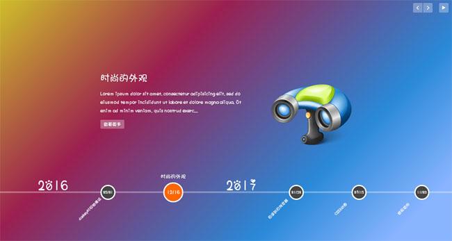 帶漂亮動畫效果的jQuery的全屏時間軸滑塊特效