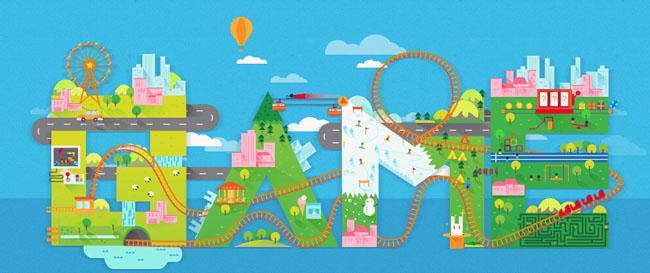 创意游乐园跑动的小火车js动画特效
