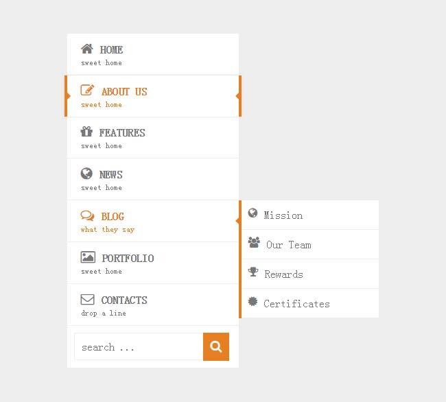 CSS3竖直图标导航菜单代码