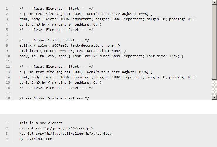 jquery.lineline.js插件自定义生成代码行号特效