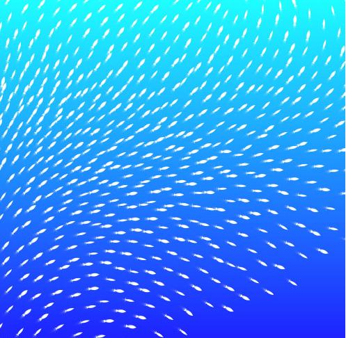 HTML5 Canvas海底鱼群游动动画特效
