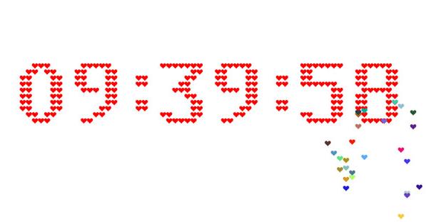 H5+Canvas爱心组成的数字时钟代码