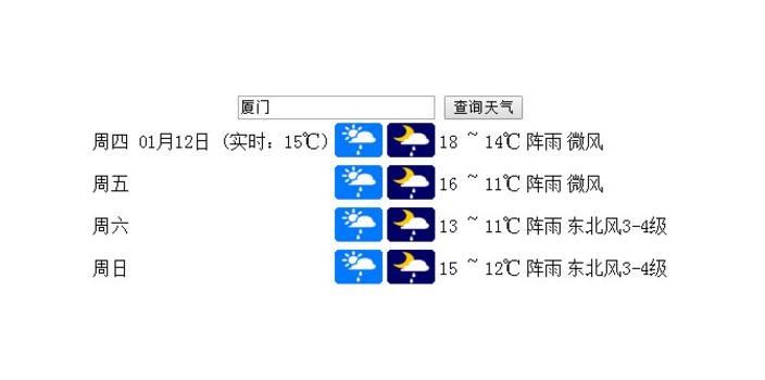 jQuery输入城市查询天气预报代码