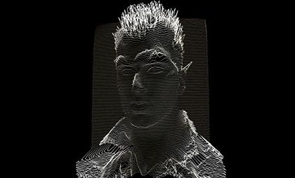 酷炫黑色HTML5 3D线条凹凸人物头像动画特效
