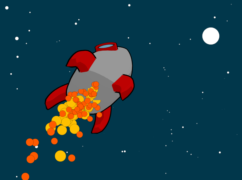 Canvas+h5鼠标移动控制火箭飞行动画特效