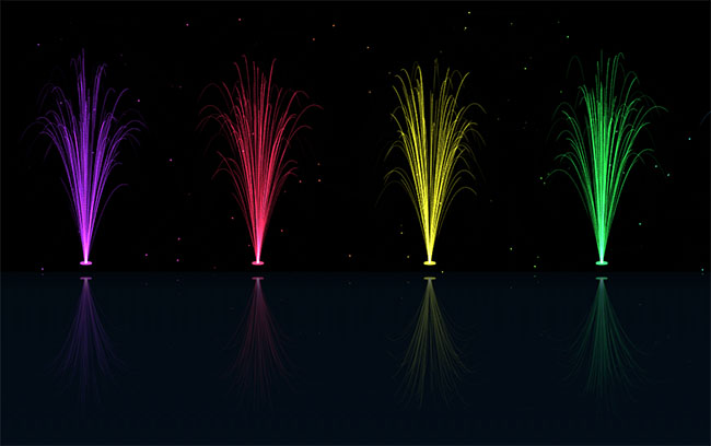 HTML5彩色发光喷泉动画特效