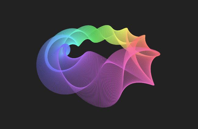 HTML5绘制3D三角形花圈动画特效