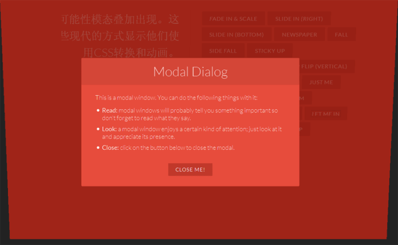 19种html5+CSS3绚丽的弹出窗口动画过渡效果