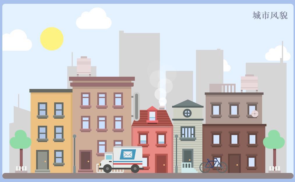css3卡通的城市空間動畫場景特效